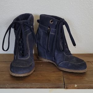 Minelli navy suede boot wedges